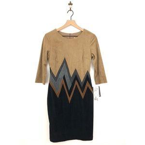 Joseph Ribkoff Suede Sheath Dress Size 6 Tan NWT